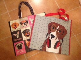Lot Of 2 Dog Theme  Shopping Bag Reusable Eco Travel Tote NEW - $9.89