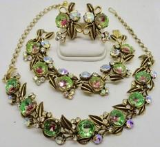 Vintage 4pc Signed Florenza Watermelon Rhinestone Necklace Bracelet Earring Set - $425.00