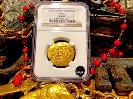 MEXICO 1713 4 ESCUDOS NGC 62 1715 FLEET SHIPWRECK PIRATE GOLD COINS TREA... - $6,450.00