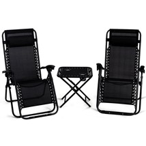 3 Piece Black Zero Gravity Chairs Set With Side Table Cup Holders Campin... - $98.50