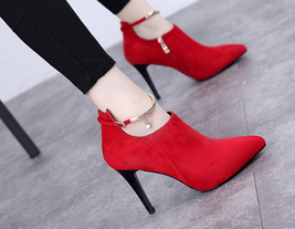 81H002 elegant pointy buckles booties,US Size 4-8.5, red - $52.80