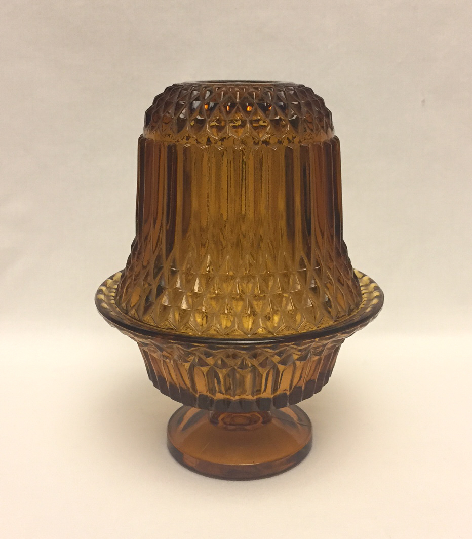 Vintage Amber Glass Fairy Lamp Indiana Glass Diamond Point Candle Holder