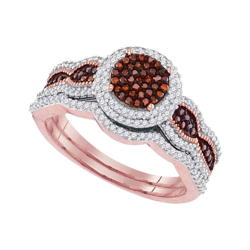 Colored Diamond Wedding Ring Sets: 10kt Rose Gold Red Color Enhanced Diamond Bridal Wedding