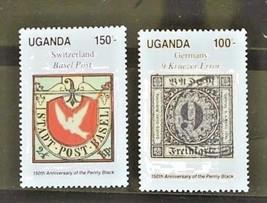 Uganda Set of 2 Stamps MINT -Penny Black Anniv.- MNH Free Shipping #700178 - $1.68