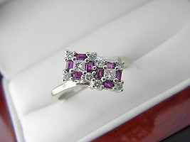 18 K White Gold 0.96 tcw Ruby & 0.56 tcw diamonds  Ring Size 6.75 - $588.00