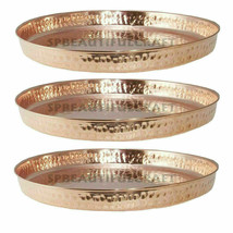 Pure Copper Hammered Dinner Thali/plate Round Shape Indien Traditional S... - $26.03+