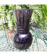 "Vintage Anchor Hocking Amethyst Swirl 3 Ring Flared Vase 6.5"" Purple - $34.65"