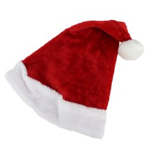 "16"" Traditional Red and White Plush Christmas Santa Hat - Adult Size Small - $7.66"