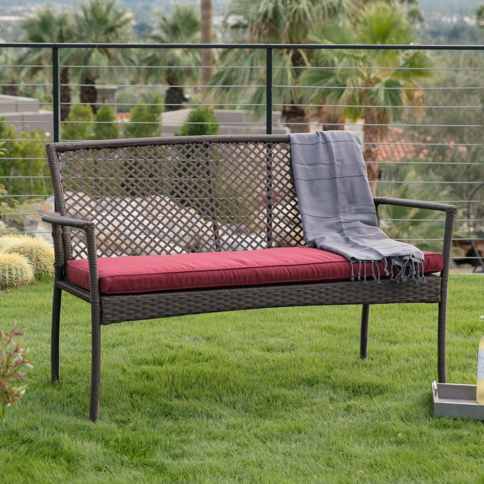 Brown Resin Wicker Outdoor Garden Bench With Burgundy Red Cushion Patio Seating