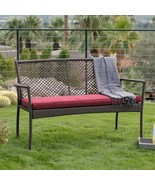 Brown Resin Wicker Outdoor Garden Bench With Burgundy Red Cushion Patio ... - $119.47
