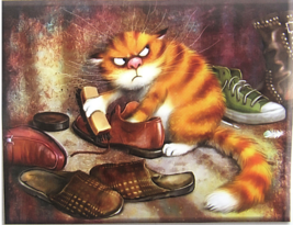 Cross Stitch Needlepoint Kit Sneaky Cat Shining Shoes APT Hobby Products... - $22.72