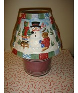 Yankee Candle Christmas Quilt Snowman Large Shade Topper - $11.99