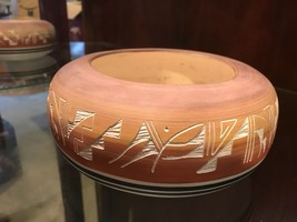 Clay Bowl  Etched Design Signed Pottery Hand Crafted  - $24.70