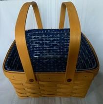 Longaberger 1998 Cake Basket Blue Heritage Liner Plastic Protector Swing... - $44.87