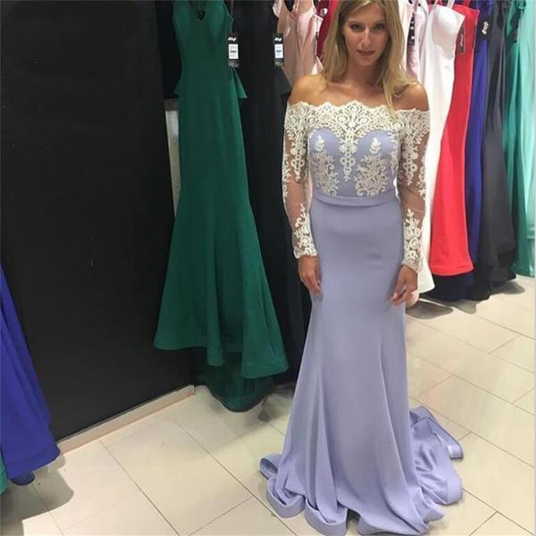 Lavender long mermaid long sleeves lace top straight neck newest prom dress   pd0272