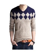 Cashmere Wool Sweater Men 2018 Autumn Winter Slim Fit Pullovers Men Argy... - $34.36