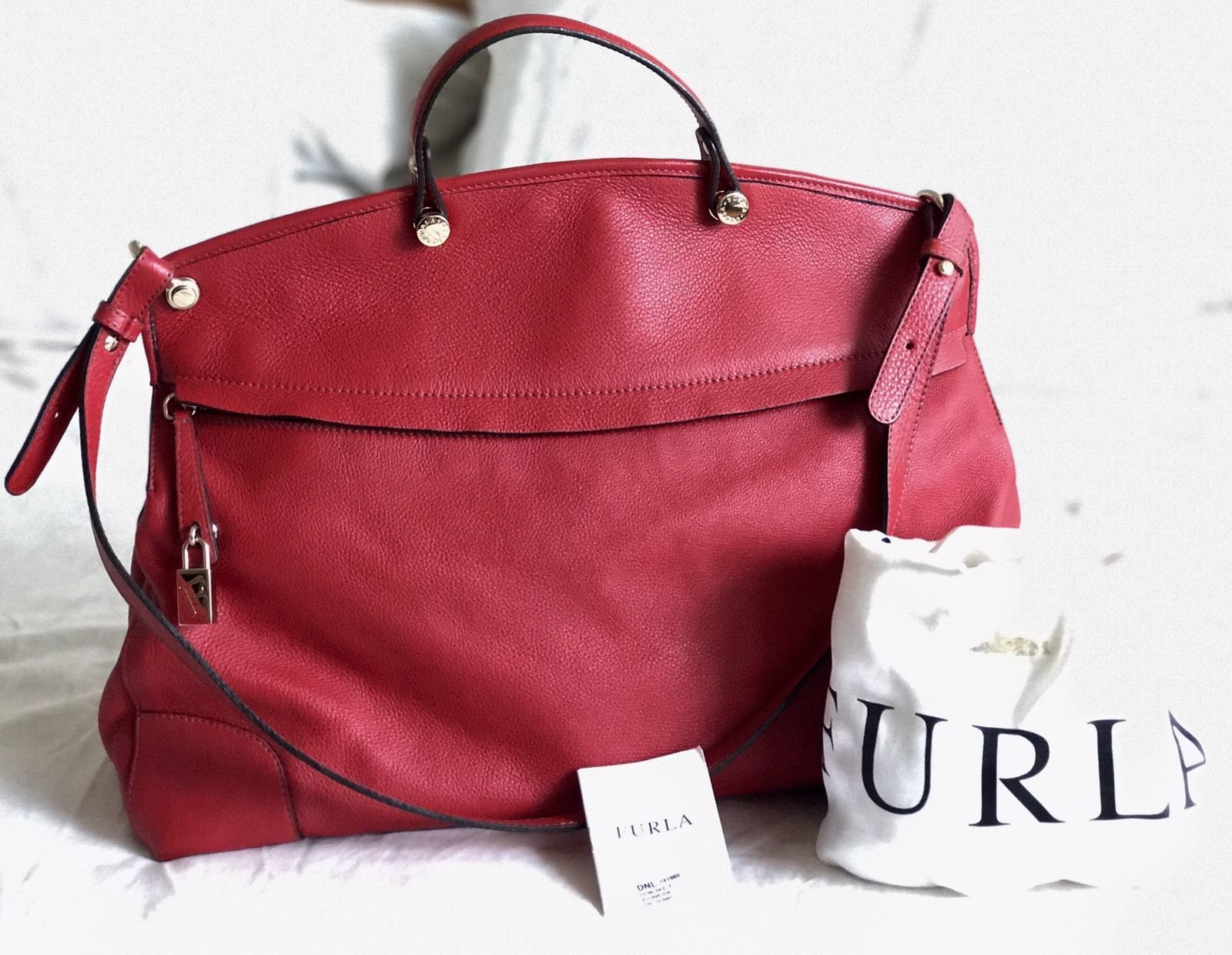 Large FURLA Red Piper Top Handle Saffiano Leather Tote Office Handbag