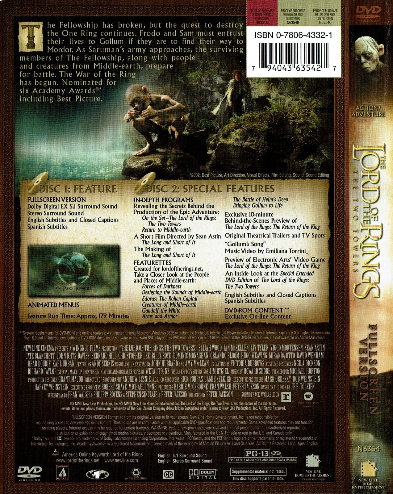 The Lord Of the Rings: The Two Towers, DVD 2003, Full Screen Edition