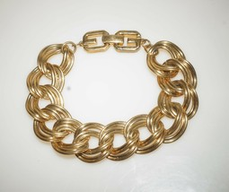 "Chunky Vintage Double Links Gold Tone Chain Statement Bracelet 8"" - $13.00"