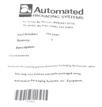 NEW AUTOMATED PACKAGING SYSTEMS 70236A1 COVERS / BEARING