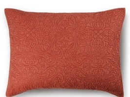 THRESHOLD All Over Stitched Red Quilted Sham Floral Stitched New King - $22.05