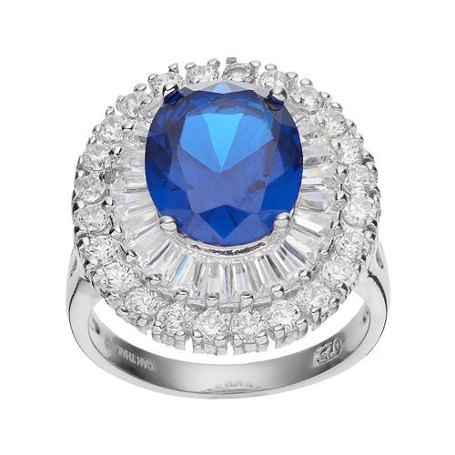 Primary image for Fancy Round Cut Blue Diamond Womens Valentine Gift Ring In Solid 10k White Gold