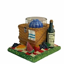 Yankee Candle Tealight Votive Candle Holder Picnic Basket W/ Wine Fruit ... - $12.86
