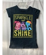 Youth Size S MLP My Little Pony Dark Gray T Shirt Sparkle and Shine Ponies - $9.89