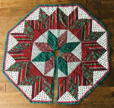 Quilted Christmas Tree Skirt Star Hand & Machine Made Multicolor Patchwo... - $120.94