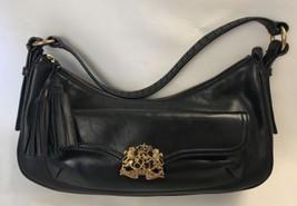 510b7f4d17d9 Vintage Ralph Lauren Handbag Black Leather Gold Crest Clasp Hobo Shoulde...  - £