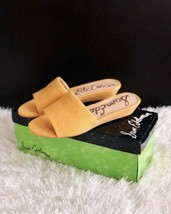✨New SAM EDELMAN Liliana Suede Slide Sandals Yellow Womens Size 6.5M $90... - $44.88