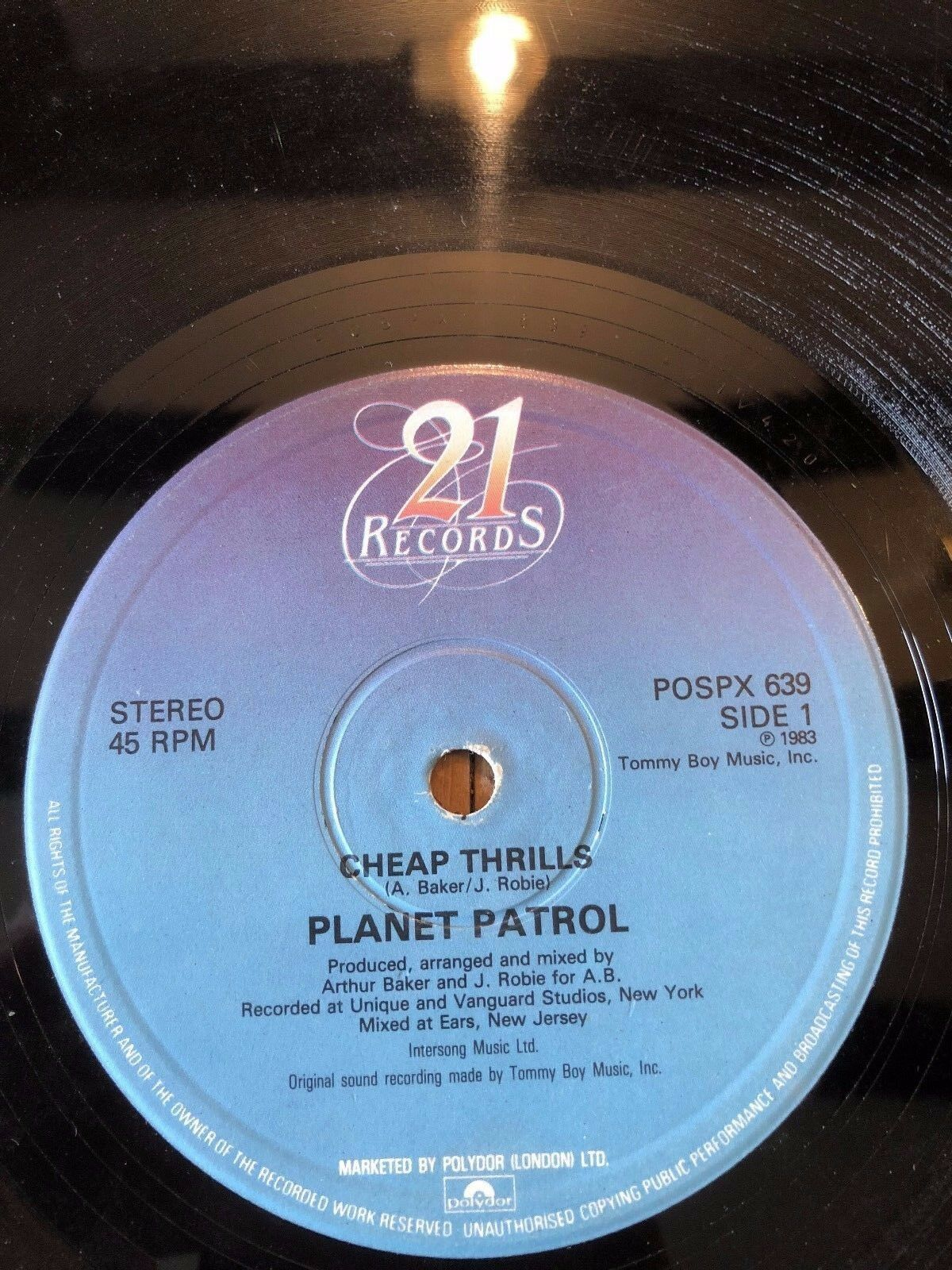 "1983 PLANET PATROL ""CHEAP THRILLS"" RAP HIP HOP VINYLE 30.5cm UNIQUE RECORD"