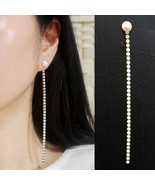 Two Ways Fresh Water Pearl Drop Dangle Earrings Rhinestone 925 Silver SE90  - $25.23