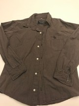 EUC Abercrombie & Fitch Boys Long Sleeve Button Down Shirt Medium, Grey ... - $9.74