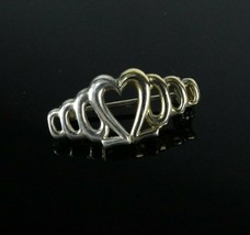 Vintage .925 Sterling Silver Signed SU Open Heart Half Gold Tone Brooch Pin 2.7g - $16.12