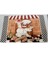Set of 2 Vinyl NON CLEAR Placemats,FAT CHEF WITH TRAY, black checkboard ... - £9.02 GBP