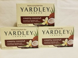 3 Yardley London Soap Creamy Coconut Moisturizing Bath Bar 4.25 Oz Each - $14.84