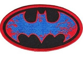 DC Comics Batman Red and Blue Splatter Bat Logo Embroidered Patch NEW UNUSED - $7.84