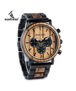 BOBO BIRD Wooden Mens Luxury Watch Wood & Stainless Steel Chronograph Qu... - $42.99