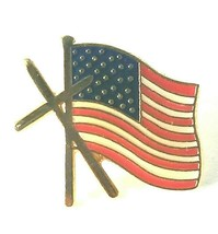 Doherty American Flag Holly Cross Gold Tone Enamel Pin Patriotic Collect... - $23.71