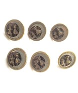 Six Antique Brass Figural w. Cut Steel Buttons, Dancing Couple - $52.15