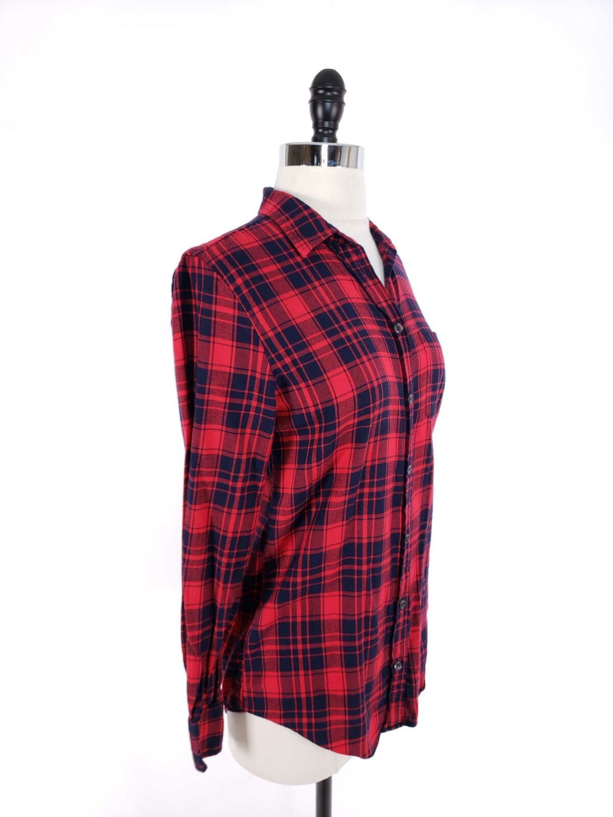 J.Crew Women Top XXS Flannel Shirt Boy Fit Soft Button Front Loose Fit image 3