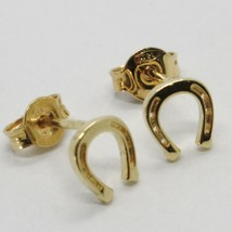 18K YELLOW GOLD EARRINGS, WITH MINI HORSESHOE, LENGTH 7 MM, MADE IN ITALY - $126.00