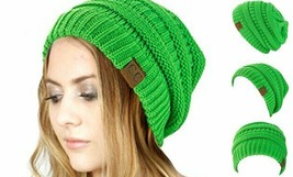 C.C Trendy Warm Chunky Soft Stretch Cable Knit Beanie Skully Neon Lime - $16.69
