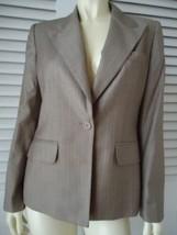 Anne Klein Blazer 8P Pinstripe Light Brown Suit Jacket Lined Pockets  - $59.37