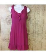 Anthropologie Moulinette Soeurs Ruffle Dress Fuchsia Silk Side Zip Small... - $23.75