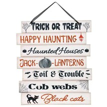 Happy Halloween Decorative Plank Wall Sign, 11.625x10.25 in. Trick or Tr... - $6.99