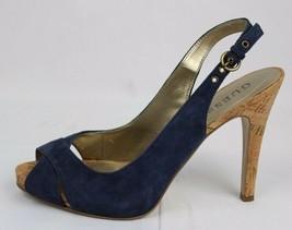 Guess Morrisa Mujer Peep Toe Destalonado Tacón Sandalias Cuero Azul Talla 7,5 M - $27.98