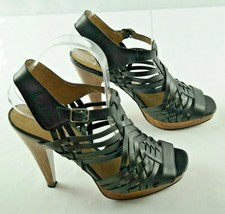 Jessica Simpson Dalanco Sandals Womens Sz 8.5 Black Leather High Heel Shoes - $22.50