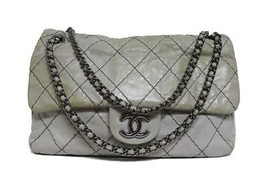 Chanel Double Stitched Quilted Jumbo Flap Calf Leather  Bag - £913.94 GBP